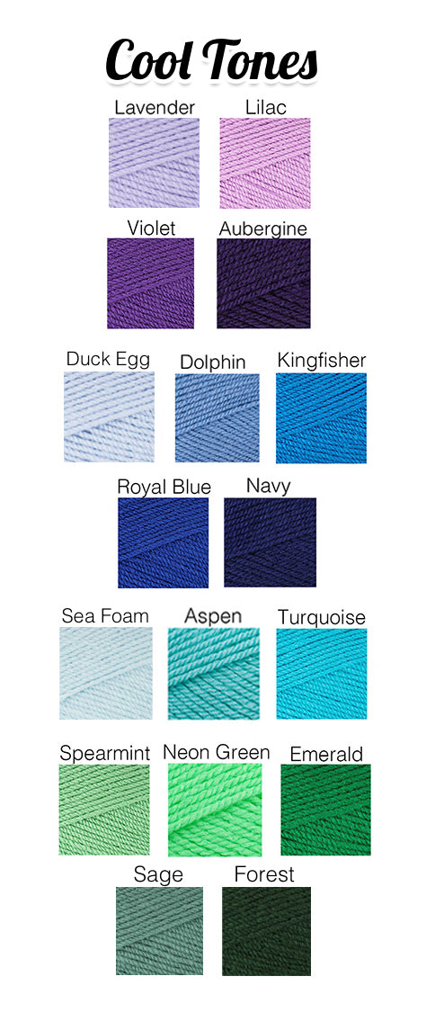 VelvetVolcano Yarn Colour Chart - Cool Tones, showing purples, blues, turquoises and greens