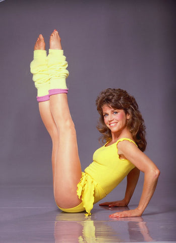 Jane Fonda wearing leg warmers