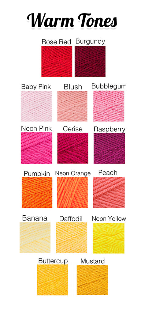 VelvetVolcano Warm Tones Acrylic Yarn Colour Chart, showing Reds, Pinks, Oranges and Yellows