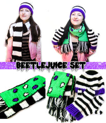 VelvetVolcano Beetlejuice Inspired Crochet Apparel Set