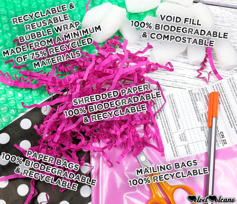 Photograph showing packaging materials and tools including green bubblewrap with text saying 'Recyclable & reusable Bubble Wrap made from a minimum of 75% recycled materials', white packing peanuts with text saying 'void fill 100% biodegradable & compostable', bright pink shredded paper with text saying 'shredded paper 100% biodegradable & recyclable', black paper bags with white polka dot design with text saying 'paper bags 100% biodegradable & recyclable', light pink plastic mailing bags with text saying 'mailing bags 100% recyclable', white customs declaration labels, a grey fineliner pen with orange top and a pair of scissors with orange handles are shown at the bottom of the image.