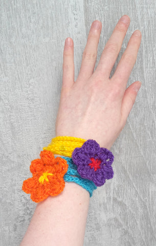 Crochet Flowers worn as a bracelet
