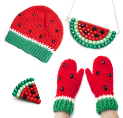 VelvetVolcano Red Watermelon Rhinestone Encrusted Sparkly Jewellery and Crochet Apparel Set