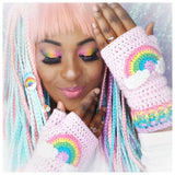 AyeshaShaSha wears VelvetVolcano Kawaii Baby Pink Crochet Fingerless Gloves with Pastel Rainbow Cloud Motif and Pastel Rainbow Striped Cuffs