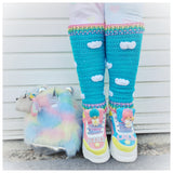 Kawaii Pastel Rainbow and Turquoise Sky with White Cloud Pattern Leg Warmers by VelvetVolcano, Fluffy Pastel Rainbow Bag, Pusheen Keyring, Little Twin Stars Kiki and LaLa Shoes