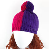 Custom Colour (Pictured is Cerise & Violet) Half and Half Winter Bobble Hat by VelvetVolcano