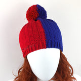 Red & Royal Blue Vertical Split Half and Half Pom Pom Beanie handmade by VelvetVolcano