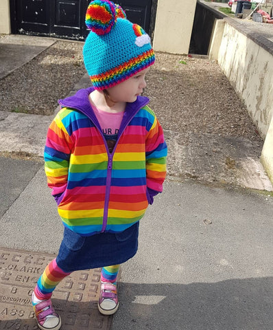 Turquoise Crochet Beanie with Rainbow Cloud Design, Rainbow Striped Rib and Double Rainbow Pom Pom 'Ears' by VelvetVolcano