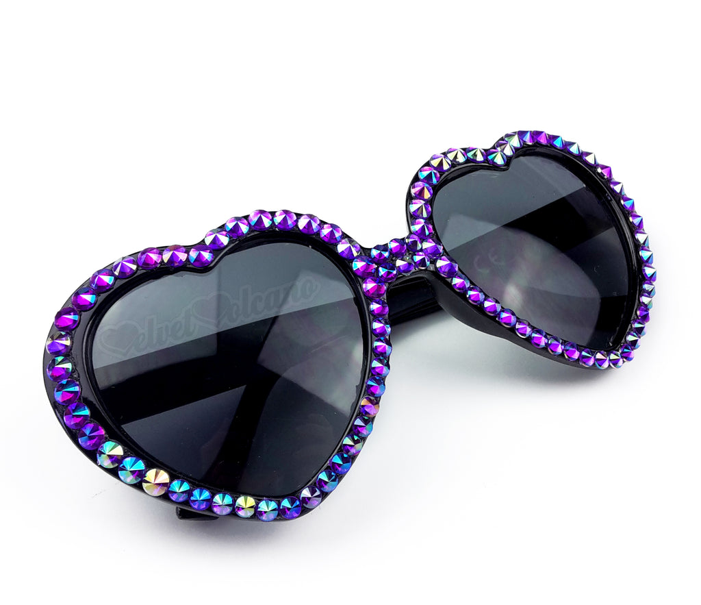 AMETHYST - Black Heart Shaped Sunglasses Encrusted with Deep Violet Rainbow Effect Pointed Crystals - Sparkly Purple Heart Sunglasses