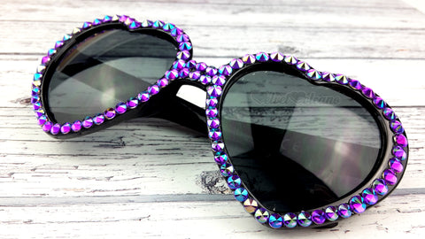 Sparkly Purple and Black Heart Shaped Sunglasses - Rhinestone Embellished Festival Heart Sunnies