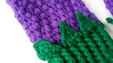 VelvetVolcano Blackberry Fingerless Gloves - Kawaii Fruit Design Texting Mittens - Violet Purple & Emerald Green Crochet Womens or Girls Gloves