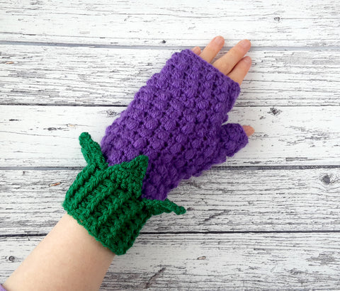 Cosy & Snuggly Blackberry Bobble Fingerless Gloves with Leaves by VelvetVolcano