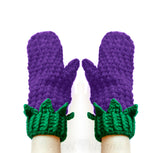 Violet Purple & Emerald Green Blackberry Mittens - Crochet Fruit / Berry Mittens with Bobble Stitch and Leaves by VelvetVolcano