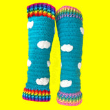 Turquoise Crochet Leg Warmers with White Cloud Pattern and Bright Rainbow or Pastel Rainbow Striped Cuffs by VelvetVolcano