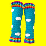 Rainbow Striped Cuff and Turquoise Sky with White Cloud Pattern Leg Warmers - Kawaii Crochet Legwarmers by VelvetVolcano
