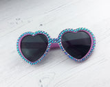 Crystal Encrusted BUBBLEGUM Pink & Turquoise Heart Sunglasses