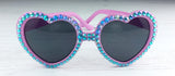 Unicorn Sunglasses - Sparkly Pink & Turquoise Heart Sunglasses by VelvetVolcano