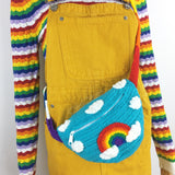 Rainbow Cross Body Belt Bag, Kawaii Crochet Bum Bag by VelvetVolcano