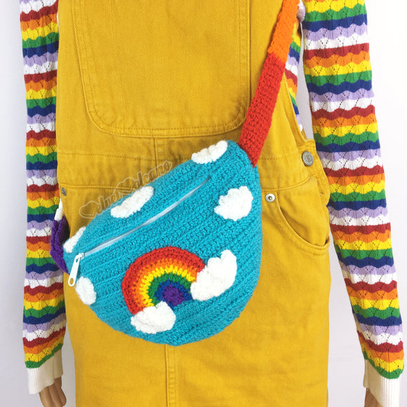 Colourful Rainbow Cloud Crochet Bum Bag - Turquoise Fanny Pack with repeating cloud print, rainbow cloud motif and rainbow striped strap/belt by VelvetVolcano
