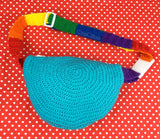 Bright Rainbow Cloud Bum Bag with Rainbow Striped Adjustable Strap by VelvetVolcano