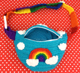 Cloudy Sky Crochet Bum Bag with Rainbow Striped Adjustable Strap to fit UK size 6-22