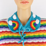 Bright Rainbow Cloud Collar - Colourful Detachable Turquoise Crochet Kawaii Peter Pan Collar with Neck Tie by VelvetVolcano