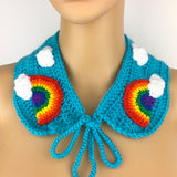 Bright Rainbow Cloud Collar - Detachable Turquoise Crochet Kawaii Peter Pan Collar with Neck Tie by VelvetVolcano