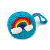 Bright Rainbow Cloud Coin Purse - Kawaii Crochet Turquoise Circular Change Pouch by VelvetVolcano