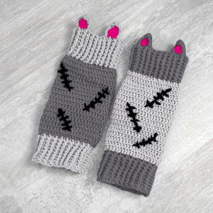 CorpseKitty Leg Warmers - Grey, Black & Hot Pink Frankenstein & Zombie Inspired Crochet Legwarmers