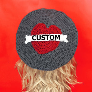 Custom Love Heart Banner Beret - Valentine Tattoo Style Hat by VelvetVolcano