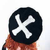 Black & White Crossbones Beret - Custom Colour Crochet Spooky Skeleton Bone Hat by VelvetVolcano