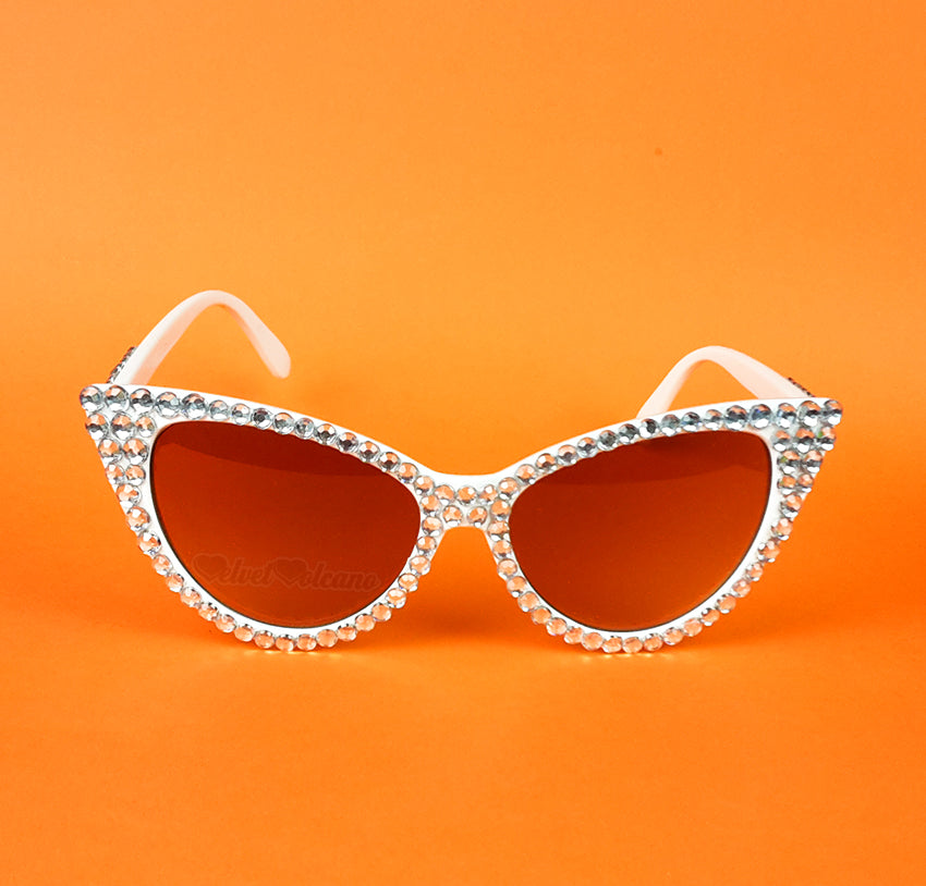 'DIAMOND' Cat Eye Sunglasses - White Cat Eye Sunglasses with Bronze Lenses, encrusted with super sparkly Silver rhinestones by VelvetVolcano