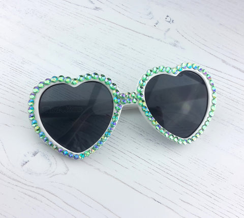 FAIRYTALE Mint Green Rhinestone Encrusted White Heart Sunglasses by VelvetVolcano