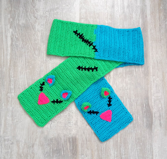 FrankenKitty Pocket Scarf - Neon Green, Turquoise, Neon Pink & Black Frankensteins Monster Hand Warmer Scarf with Cat Face and Heart Shaped Paw Details by VelvetVolcano