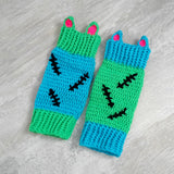 FrankenKitty Leg Warmers - Neon Green, Turquoise, Black & Hot Pink Frankenstein & Zombie Inspired Crochet Legwarmers