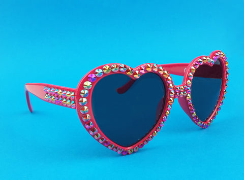 READY TO SHIP FLAME Red Heart Shaped Sunglasses
