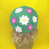 Pastel Green, Pink, White and Yellow Floral Pattern Crochet Beret by VelvetVolcano