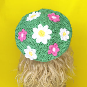 Spearmint Green Crochet Beret with White and Yellow Daisy and Bubblegum Pink and White Flower Pattern by VelvetVolcano