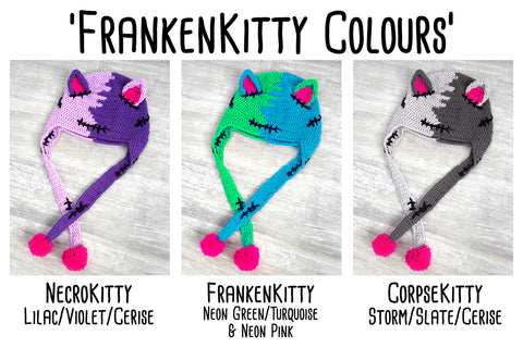 VelvetVolcano FrankenKitty Colour Combinations for FrankenKitty Crochet Collection including NecroKitty (Lilac, Violet & Cerise Pink), FrankenKitty (Neon Green, Turquoise and Neon Pink) and CorpseKitty (Storm Grey, Slate Grey and Cerise Pink)