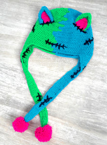 FrankenKitty Pom Pom Ear Flap Beanie - Turquoise, Neon Green & Neon Pink Frankensteins Monster / Zombie Inspired Cat Hat by VelvetVolcano