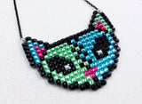 Pastel Goth, Psychobilly and Cyber Goth Sparkly Bling FrankenKitty Necklace by VelvetVolcano (Inspired by Frankensteins Monster and Zombie Kitties)