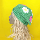 Kawaii Daisy Beret by VelvetVolcano - Pastel Green, Baby Pink, White and Yellow Floral Hat