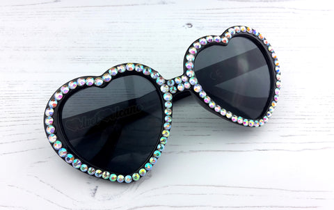 Glamorous Sparkly Silver & Black Heart Shaped Sunglasses by VelvetVolcano