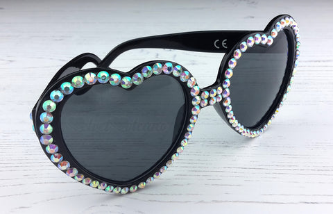 Silver & Black Crystal Encrusted Heart Sunglasses from VelvetVolcano