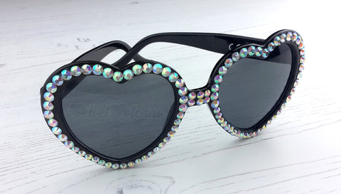 VelvetVolcano Silver & Black Heart Sunglasses