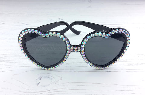 Sparkly Silver & Black Heart Shaped Sunglasses