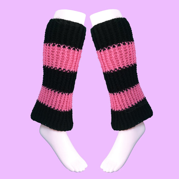 VelvetVolcano Bubblegum Pink & Black Striped Flared Boot Cover Leg Warmers