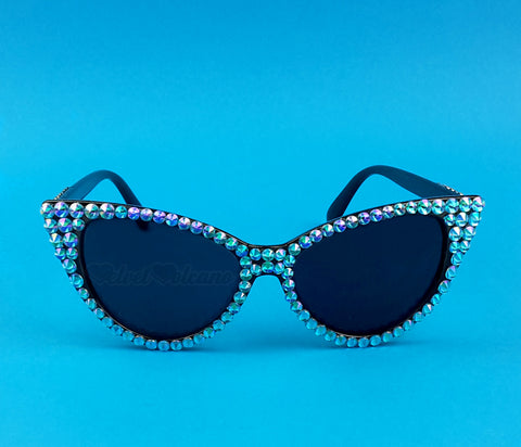 LAGOON Turquoise and Black Cat-Eye Sunglasses