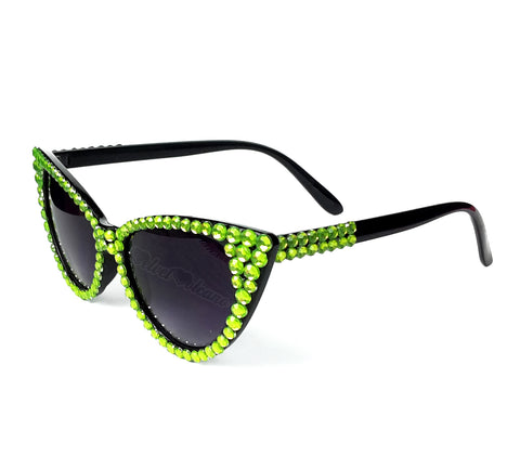 LIME Sparkly Neon Green & Black Cat Eye Sunglasses - Black Cat Eye Sunglasses encrusted with Neon Green Rhinestones by VelvetVolcano