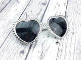 'MARILYN' White & Silver Heart Shaped Sunglasses